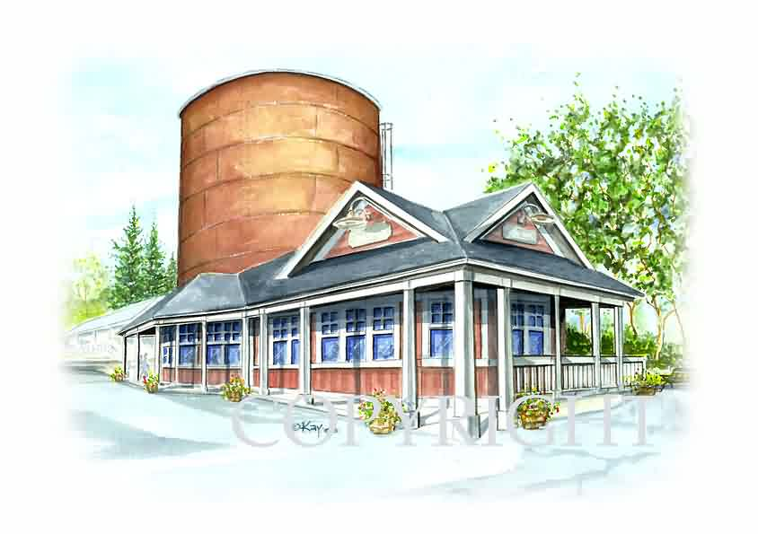 Coal Tower Restaurant Watercolor / St. Mary's Church Watercolor