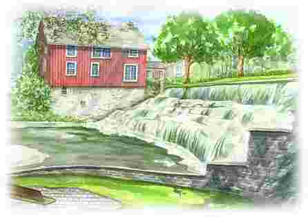 Watercolor of Honeoye Falls / Watercolor of Snowen Place